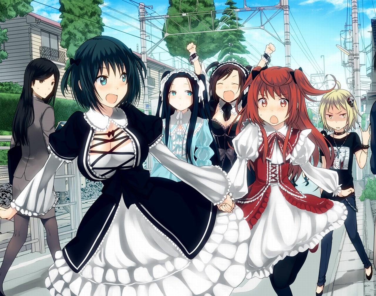 шесть аниме девушек из аниме Женская логика Joshiraku